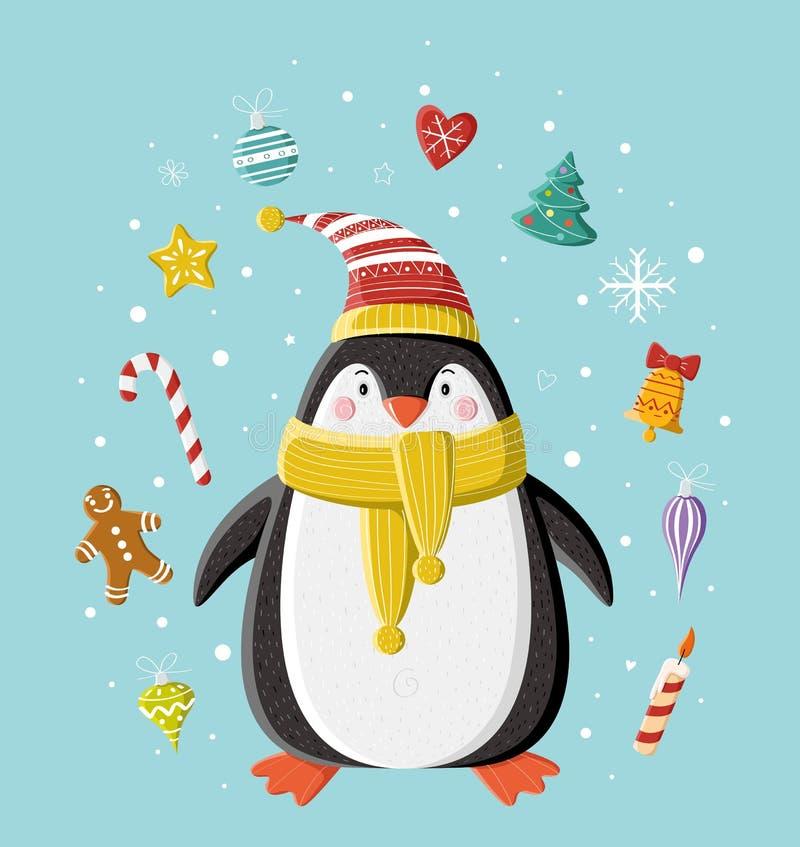 Śliczny pingwin w pasiastej trykotowej nakrętce zdjęcie stock