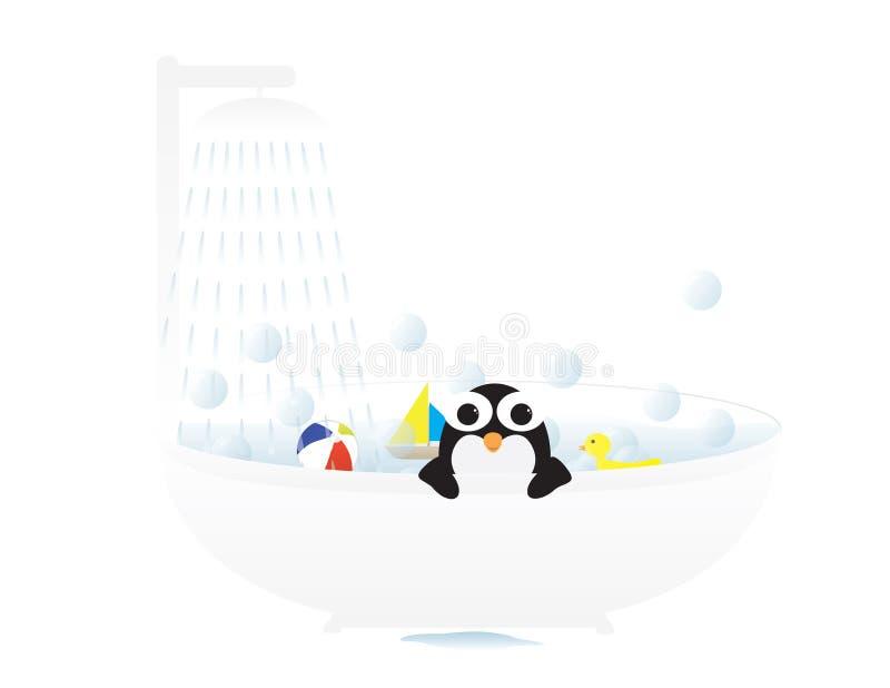 Śliczny pingwin w skąpaniu z zabawkami i mydlanymi bąblami ilustracja wektor