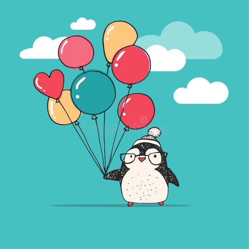 Śliczny pingwin z balonami - Wesoło boże narodzenia ilustracji