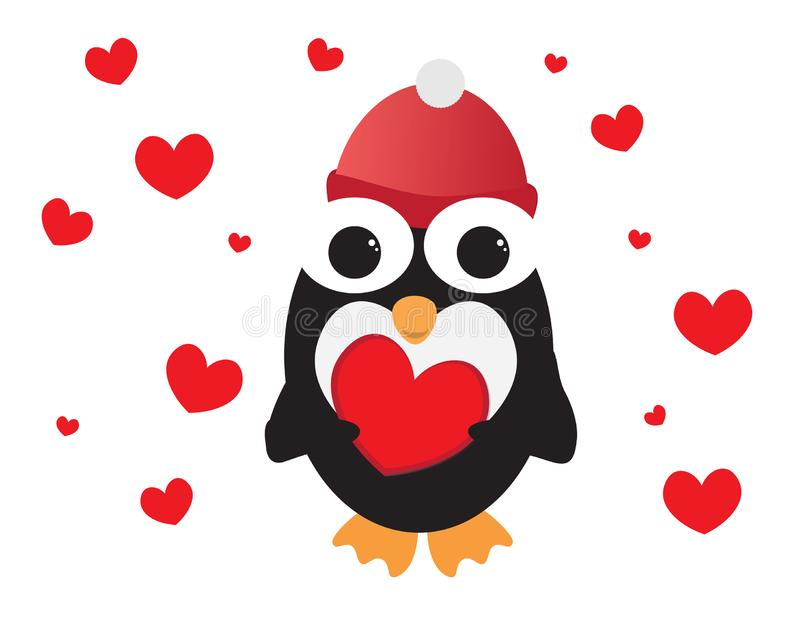 Śliczny pingwin z Czerwonego beanie mienia Czerwonym sercem, Czerwonymi sercami i białym tłem, royalty ilustracja
