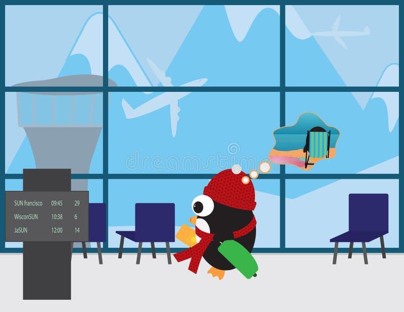 Śliczny pingwin z Czerwonym beanie i szalikiem w lotniskowy podróżować grzać miejsce ilustracja wektor