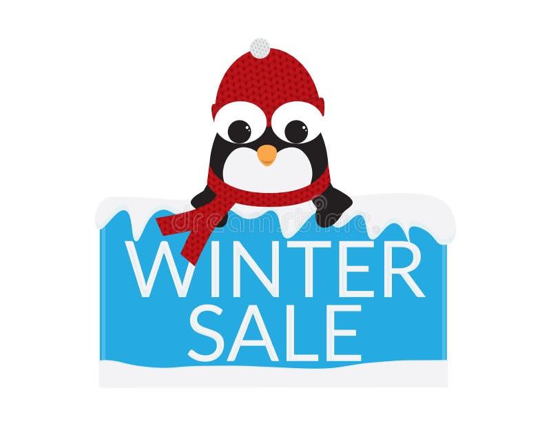 Śliczny pingwin z Czerwonym Beanie i szalikiem za Błękitnym znakiem z śniegiem i zimy sprzedaży tekstem ilustracja wektor