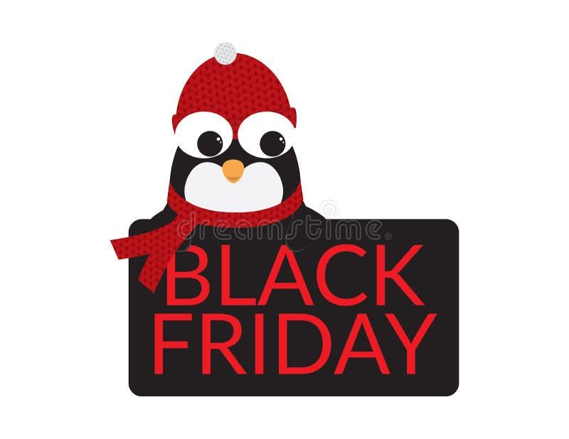 Śliczny pingwin z Czerwonym Beanie i szalikiem za Czarnym znakiem z Czerwonym BLACK FRIDAY tekstem ilustracja wektor