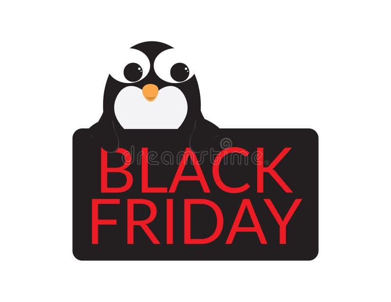 Śliczny pingwin za Czarnym znakiem z Czerwonym BLACK FRIDAY tekstem ilustracja wektor