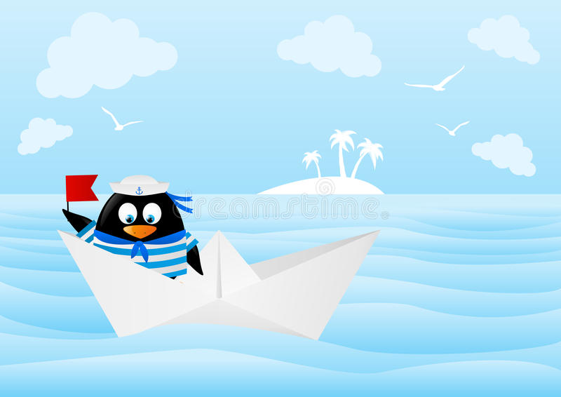 Śliczny pingwinu żeglarz ilustracji