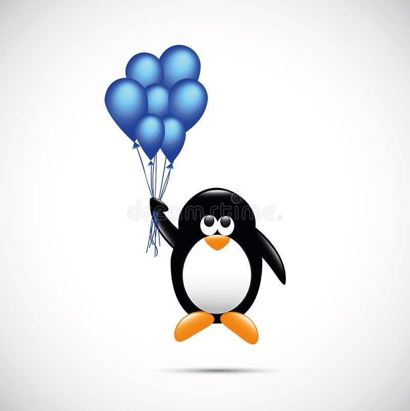 Śliczny pingwinu latanie z błękitnym helem szybko się zwiększać dziecięcego kreskówka projekt ilustracji