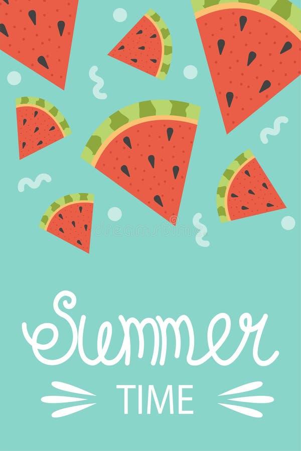 Śliczny plakat lato Wektorowy projekta pojęcie dla lata Arbuzów plasterki młodzi dorośli ilustracja wektor