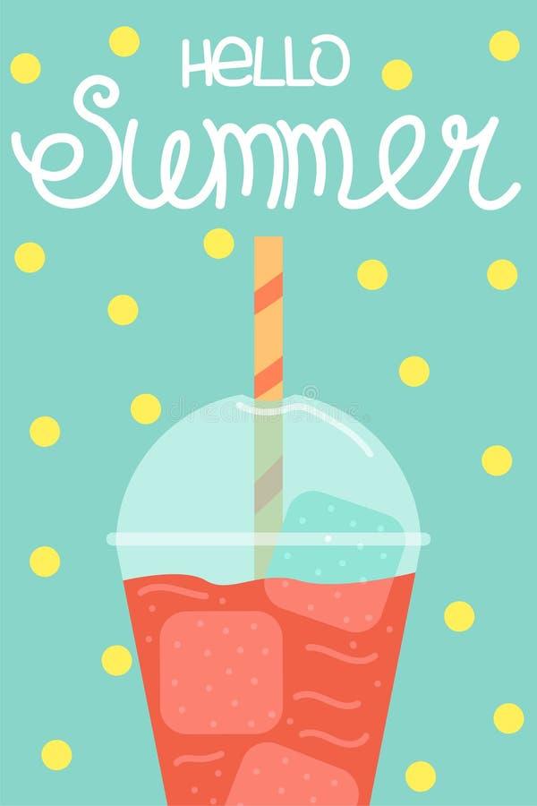 Śliczny plakat lato Wektorowy projekta pojęcie dla lata Arbuza smoothie Cześć lato ilustracji