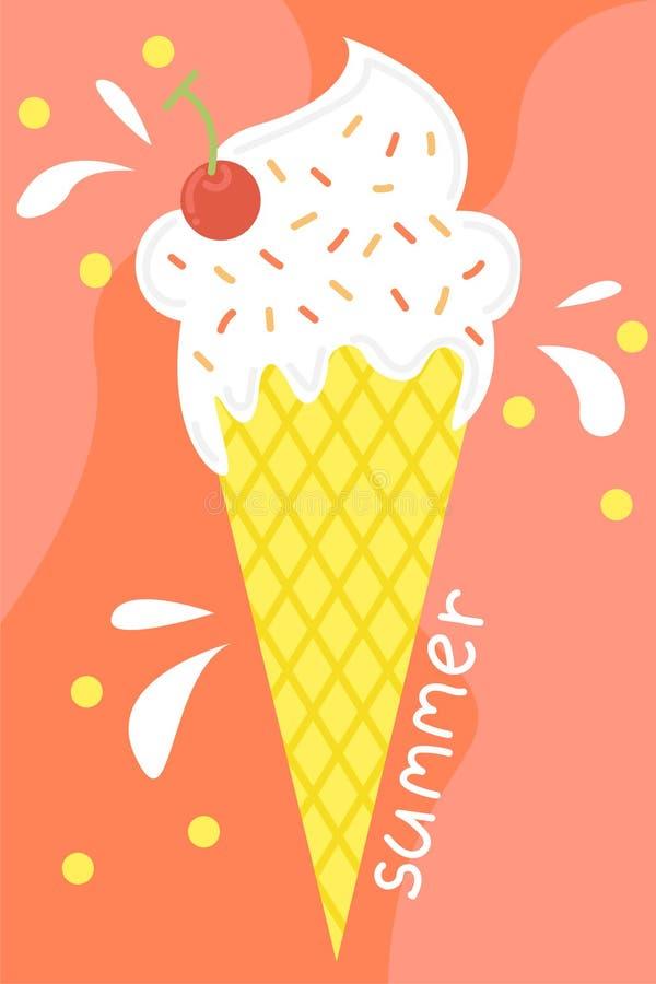 Śliczny plakat lato Wektorowy projekta pojęcie dla lata Lody w gofra rożku ilustracja wektor