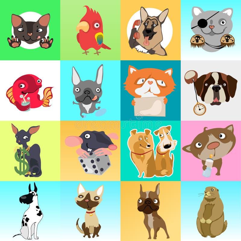 Śliczny plakat lub kartka z pozdrowieniami z nowożytnym projektem na temacie śmieszni zwierzęta domowe Ozdobny set koty, psy, mys royalty ilustracja