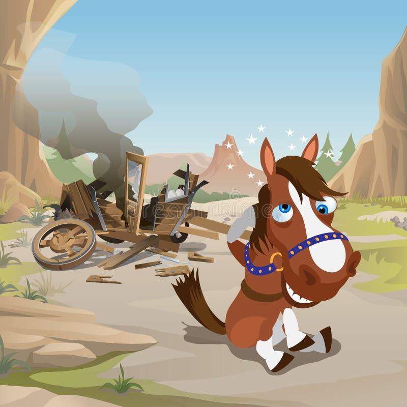 Śliczny plakat w dzikim zachodu stylu Szalony koń z gwiazdami blisko wokoło kierowniczy siedzącego z zawaloną drewnianą furą Rocz ilustracja wektor