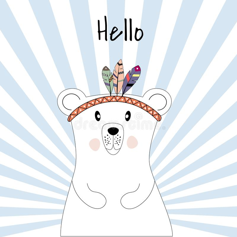 Śliczny plakat z niedźwiedziem polarnym bawić się indianów ilustracja wektor