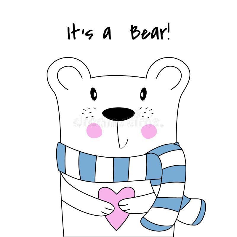 Śliczny plakat z niedźwiedziem polarnym w ręka rysującym stylu ilustracja wektor