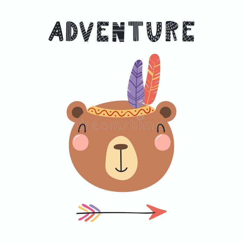 Śliczny plemienny niedźwiedź ilustracji