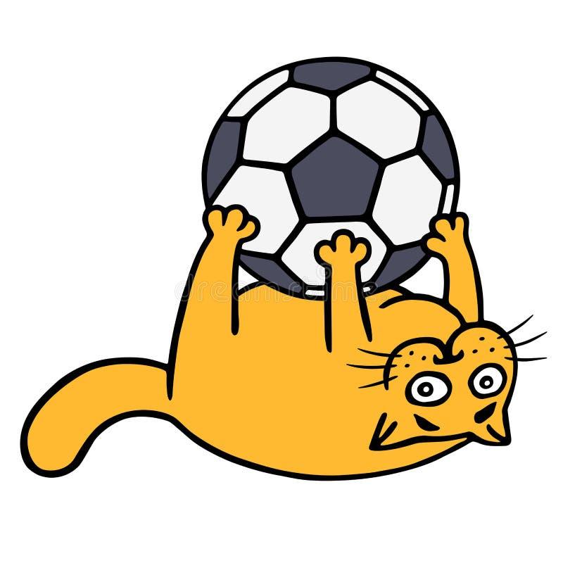 Śliczny pomarańczowy kot bawić się z piłki nożnej piłką również zwrócić corel ilustracji wektora ilustracja wektor