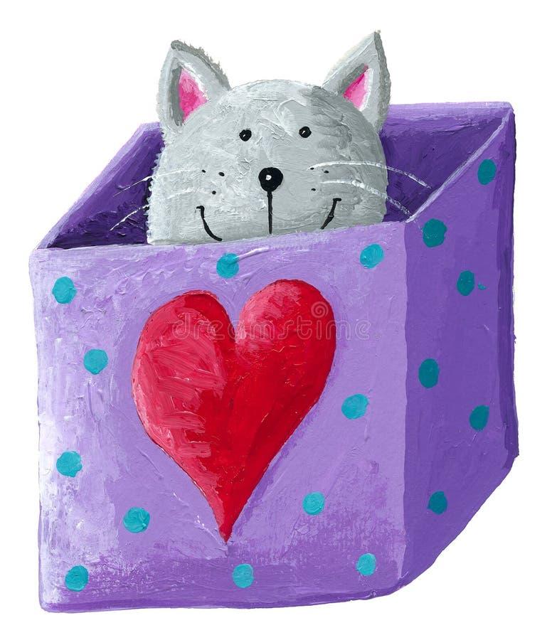 Śliczny popielaty kot w pudełku ilustracja wektor