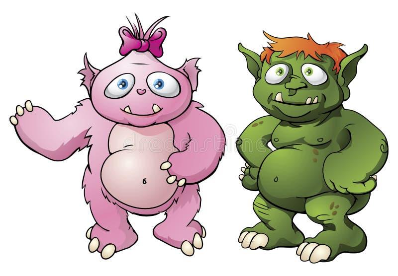 śliczny postać z kreskówki potwór ilustracji