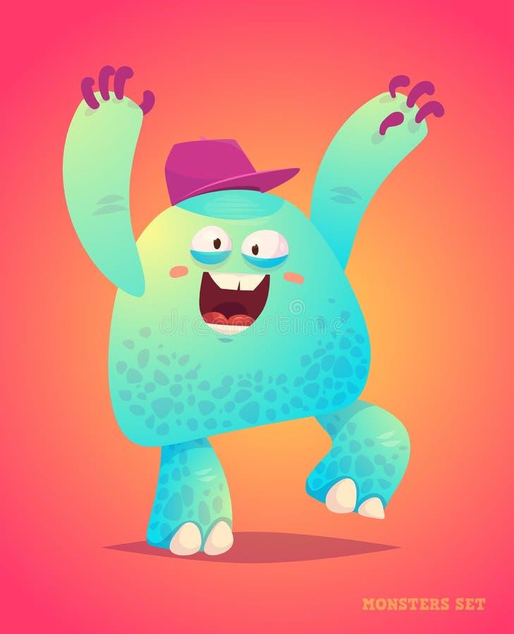 Śliczny potwór ustawiający dla Halloween royalty ilustracja