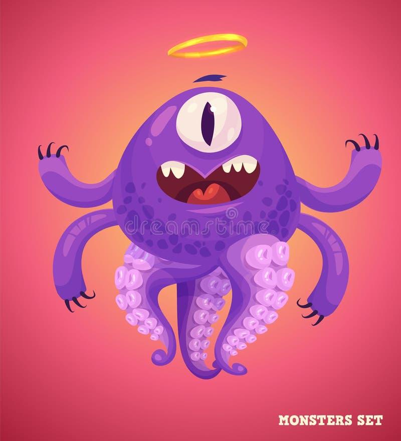 Śliczny potwór ustawiający dla Halloween ilustracja wektor