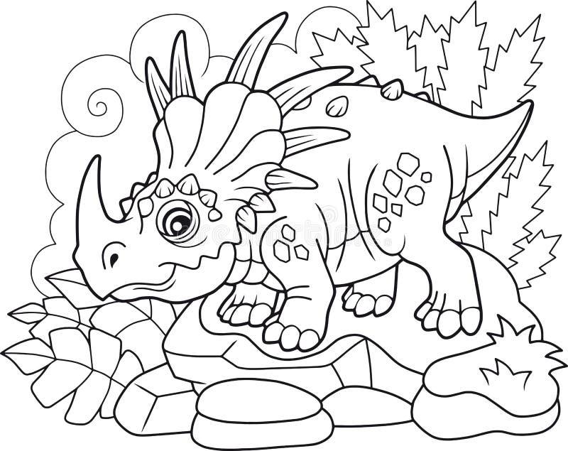 Śliczny prehistoryczny dinosaura Styracosaurus, kolorystyki książka, śmieszna ilustracja ilustracja wektor
