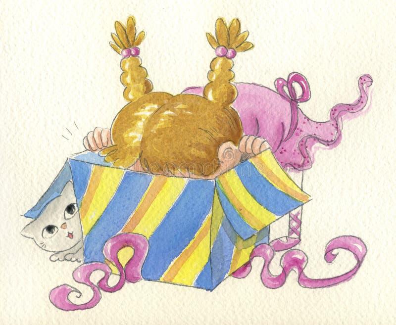 śliczny prezenta dziewczyny target2020_0_ royalty ilustracja