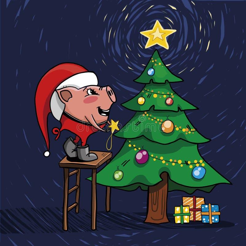 Śliczny prosiątko dekoruje choinki Charakter w kapeluszu Święty Mikołaj, trzyma zabawkarską gwiazdę royalty ilustracja