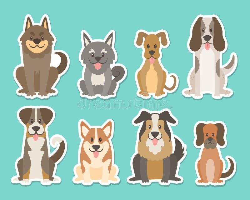 Śliczny psi obsiadanie i uśmiechnięta majcher kolekcja royalty ilustracja