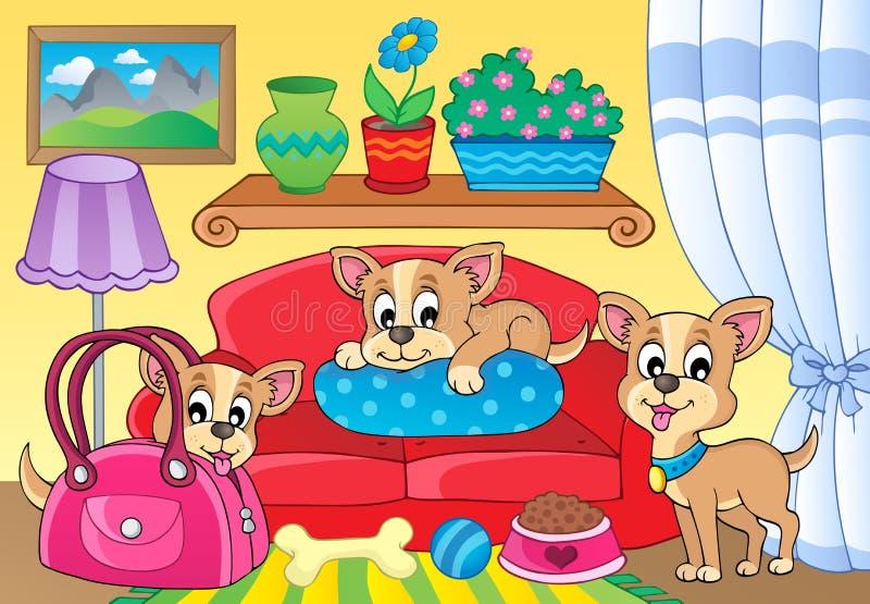 Śliczny psi tematu wizerunek 2 ilustracja wektor