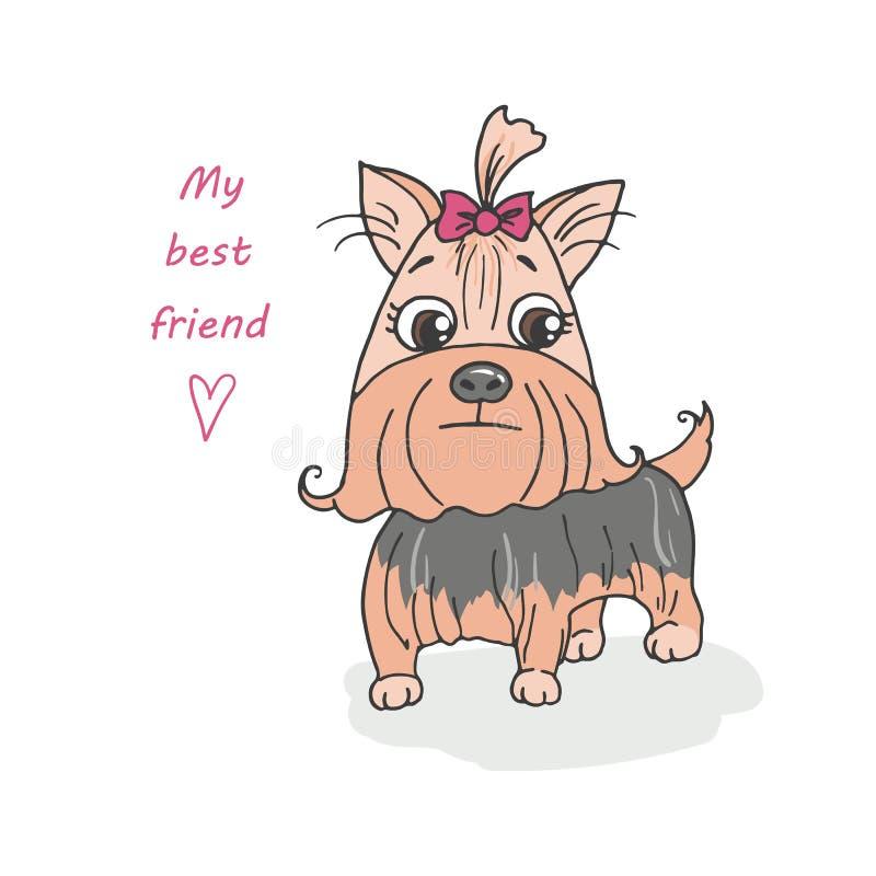 Śliczny psi trakenu Yorkshire terier ilustracji