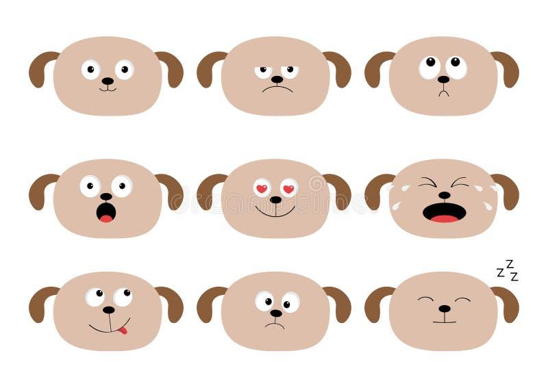 Śliczny psiej głowy set postać z kreskówki śmieszni Emoci kolekcja Szczęśliwy, zdziwiony, płaczący, smutny, gniewny szczeniak, Bi royalty ilustracja