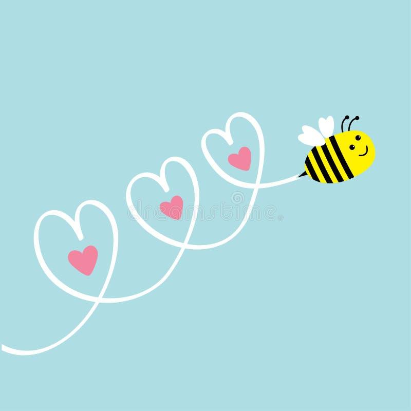 śliczny pszczoły latanie serca niebo trzy 2007 pozdrowienia karty szczęśliwych nowego roku dziecka tła kopii przestrzeni tekst Pł royalty ilustracja