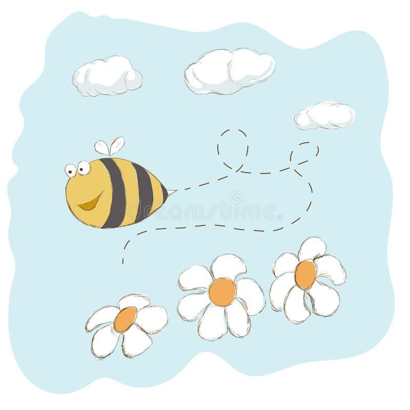 Śliczny pszczoły latanie wokoło kwiatów ilustracja wektor