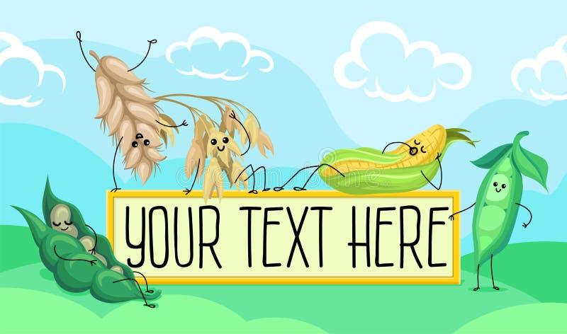 Śliczny pszeniczny trzon, fasola, grochy, kukurydzani charaktery, zboża i legumes ma zabawę w śródpolnej wektorowej ilustraci z, royalty ilustracja