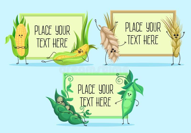 Śliczny pszeniczny trzon, grochy, kukurydzani charaktery, zboża i legumes hoding sztandary z przestrzenią dla teksta wektoru ilus ilustracja wektor