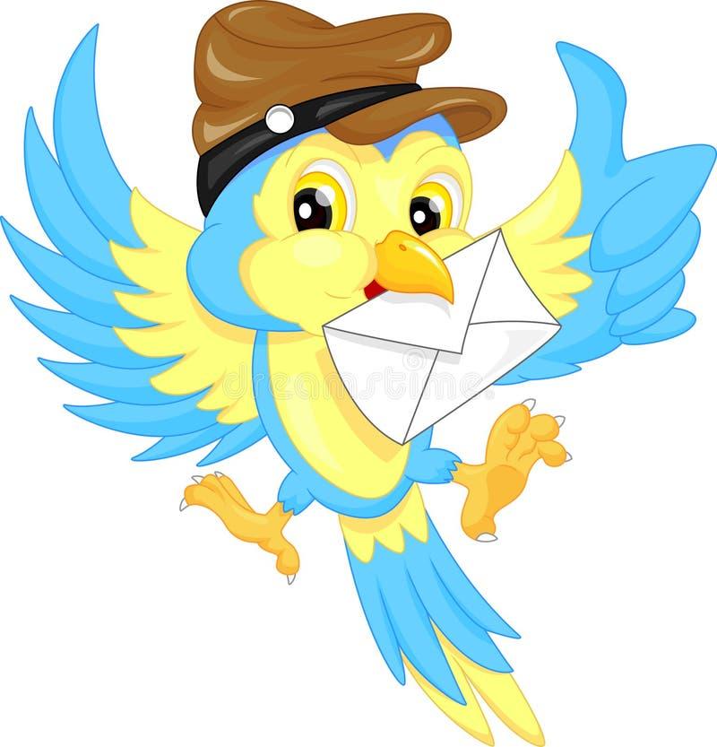 Śliczny ptak jest ubranym kapelusz, niesie list royalty ilustracja