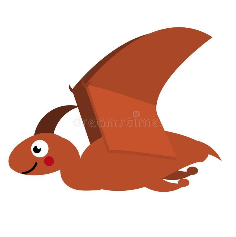 Śliczny pterodaktyla dinosaur Kreskówki Dino charakter Wektorowa ilustracja dla dzieciaków ilustracja wektor