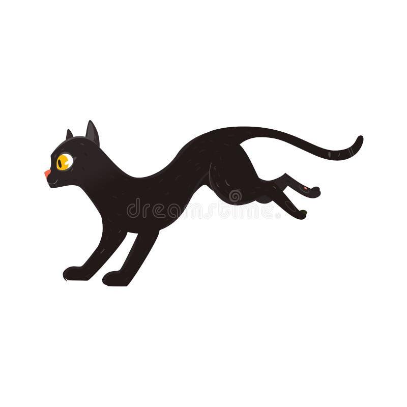 Śliczny puszysty czarnego kota bieg, bocznego widoku portret royalty ilustracja