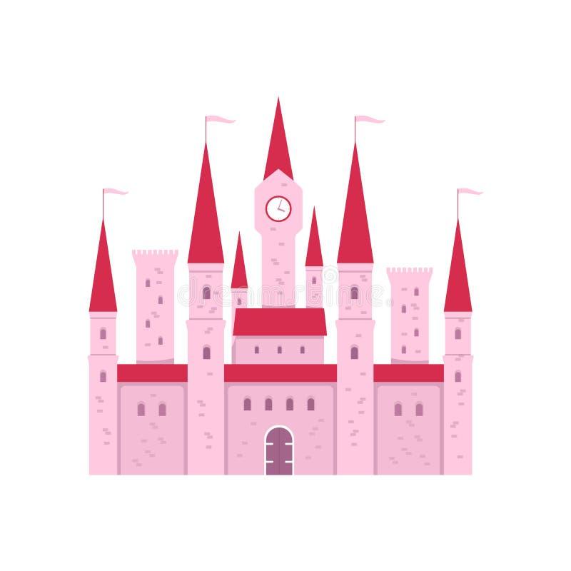 Śliczny różowy fantazja kasztel z bramą i wierza zegar w płaskiej kreskówce projektujemy ilustracji