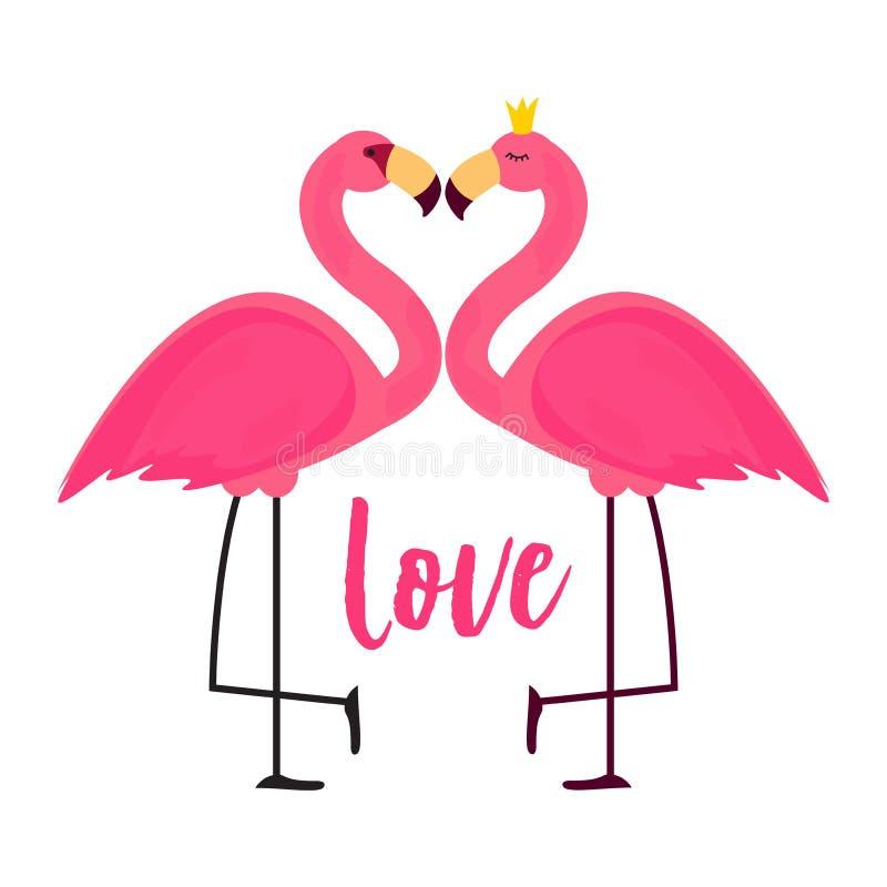 Śliczny Różowy flaming w miłości tła wektoru ilustraci royalty ilustracja