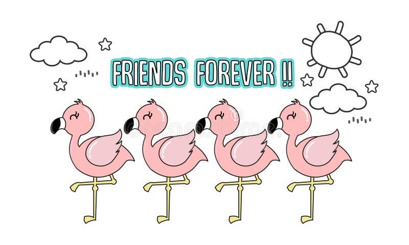 Śliczny różowy flaming z jej przyjaciółmi royalty ilustracja