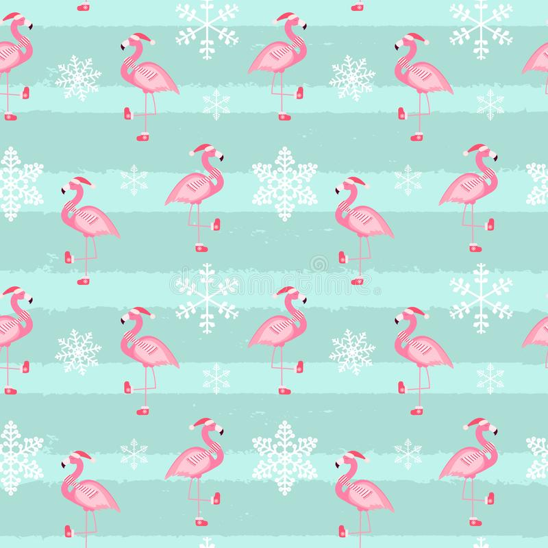 Śliczny Różowy flaminga nowy rok i Bożenarodzeniowa Bezszwowa Deseniowa tło wektoru ilustracja ilustracja wektor