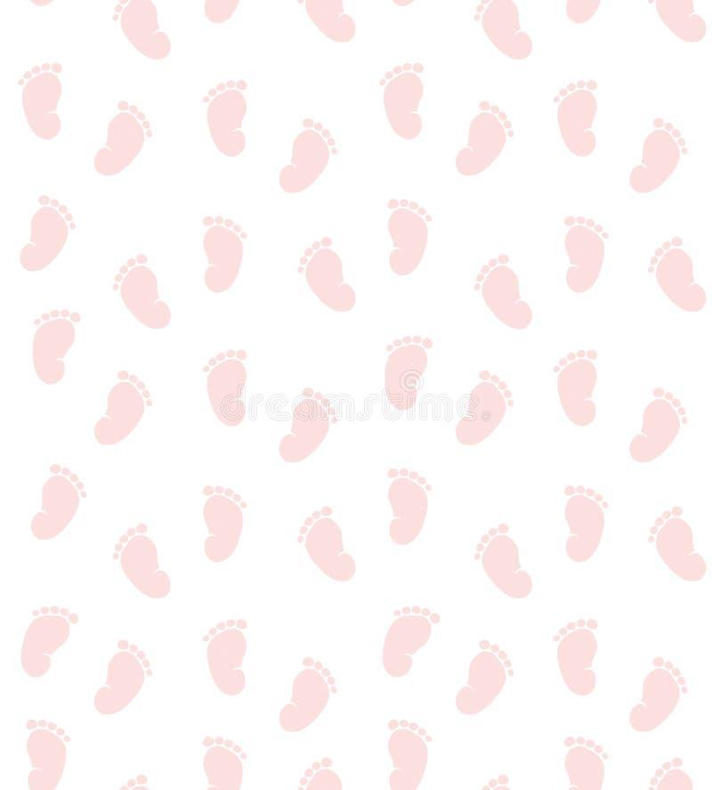 Śliczny Różowy Mały dziecko cieków wektoru wzór Biały backround Dziecko prysznic temat royalty ilustracja