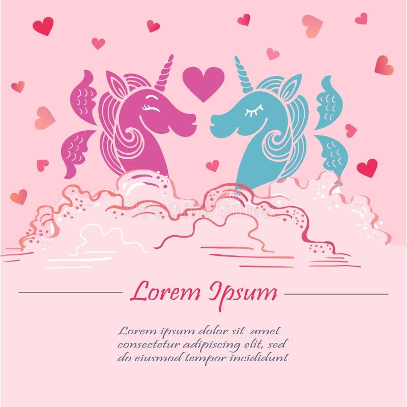 Śliczny różowy szablon z różowymi i błękitnymi jednorożec z skrzydłami w chmurach ilustracji