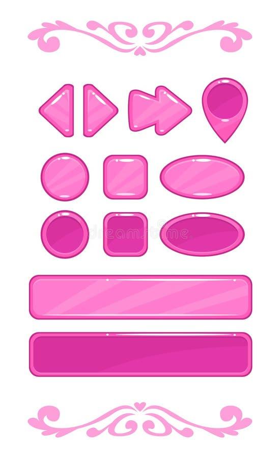 Śliczny różowy wektorowy gemowy interfejs użytkownika ilustracji
