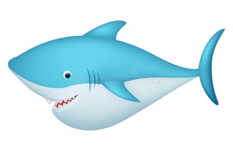 Śliczny rekinu postać z kreskówki ilustracji