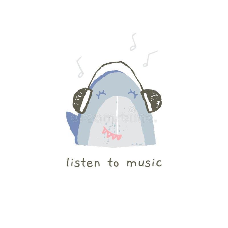 Śliczny rekinu uśmiech z emocjami Wektorowa ręka rysujący emoji posłuchaj muzyki ilustracja wektor