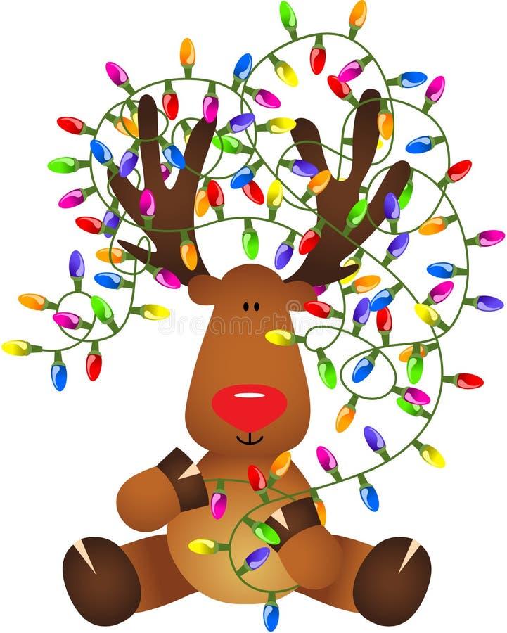 Śliczny renifer z bożonarodzeniowe światła ilustracji
