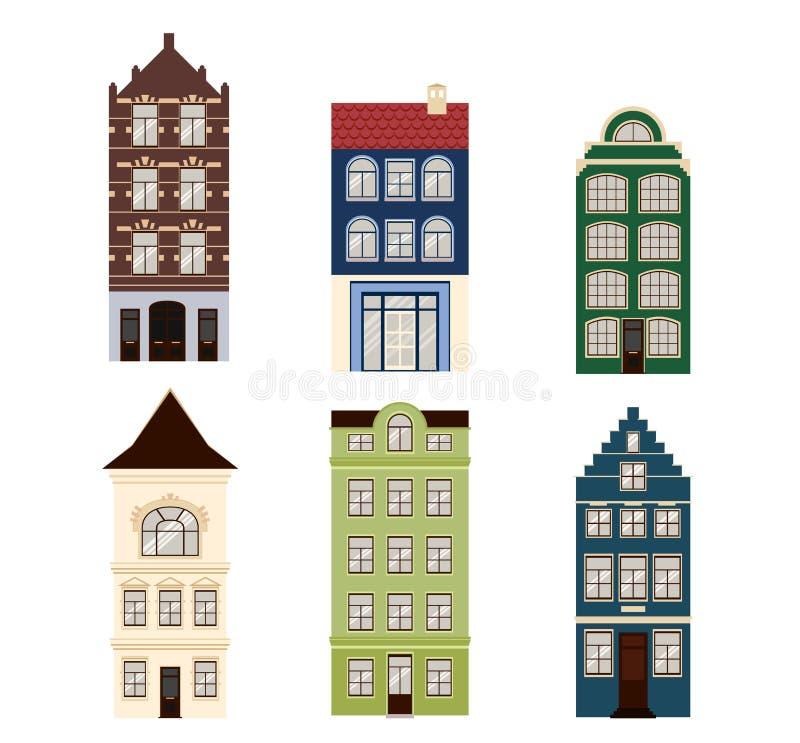 Śliczny retro dom powierzchowności set Kolekcja Europejskie budynek fasady Tradycyjna architektura Belgia i ilustracji