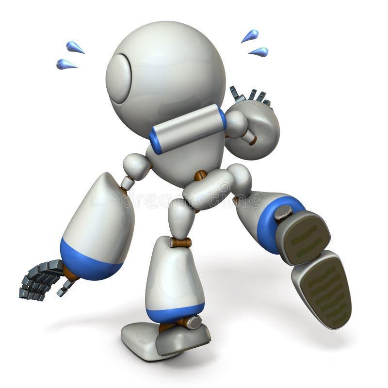 Śliczny robot który podąża coś Jest na krawędzi spadać royalty ilustracja