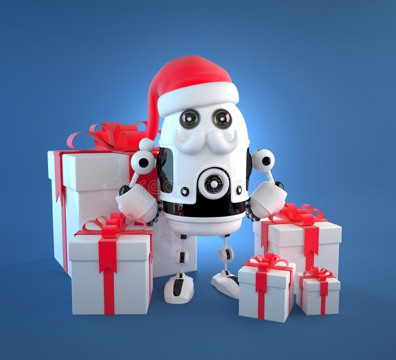 Śliczny robot Santa z prezentów pudełkami ilustracji